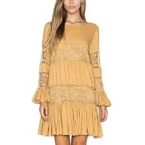 TULAROSA Berkley Lace paneled Mini Dress Saffron M